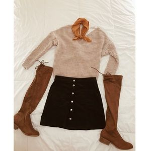 Tan over the knee boots